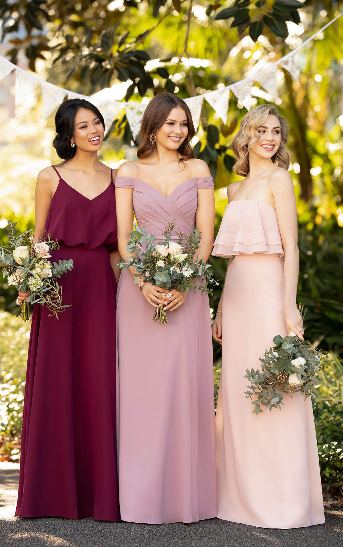Sorella Vita Bridesmaids Dresses with a mix and match of shades of red