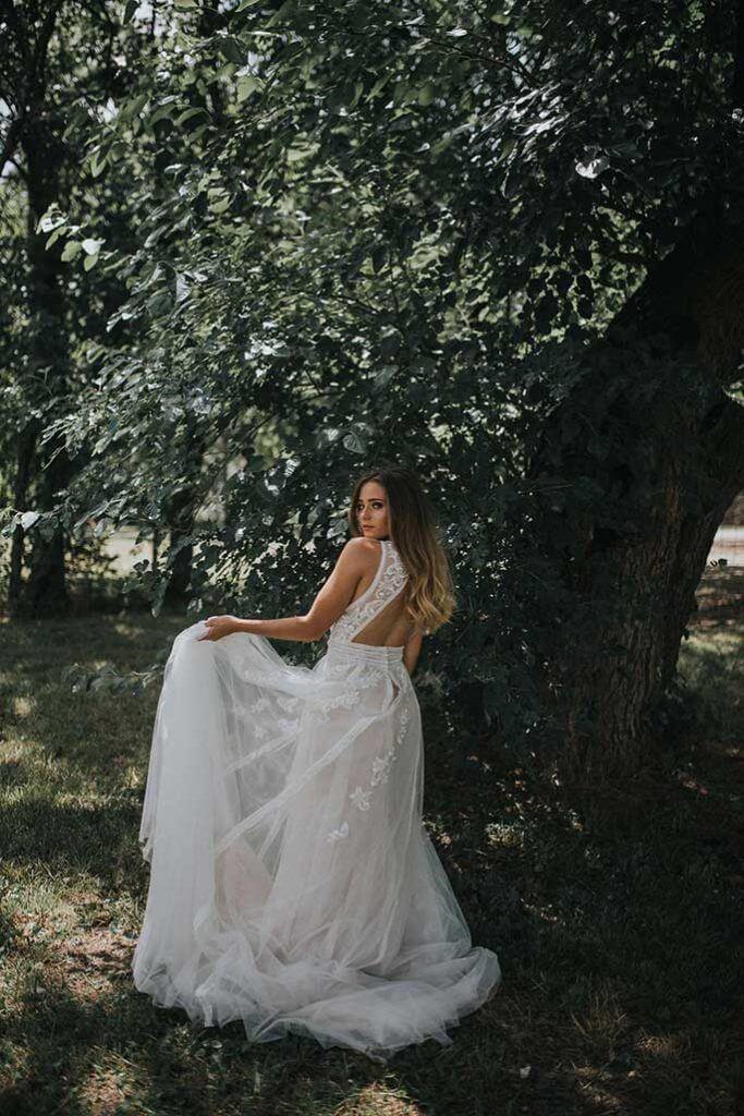 Kansas City boho wedding dress styled shoot- Essense of Australia Dress