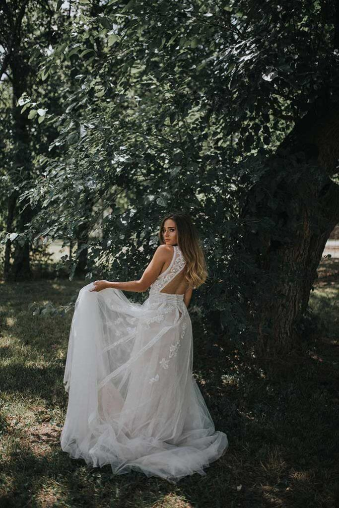Kansas City boho wedding dress styled shoot- Essense of Australia Dress
