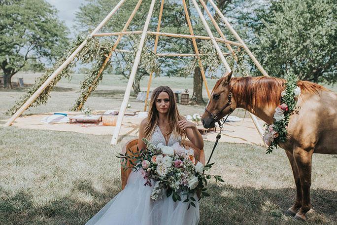 Essense of Australia Kansas City boho Wedding Dress styled shoot