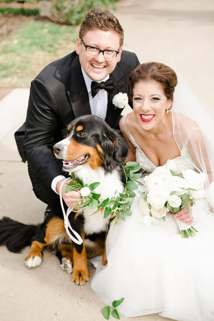 MADISON-AND-JAY-AND dog ROSEMARY at Kansas City Wedding