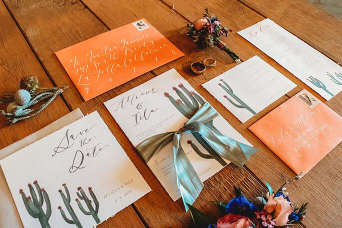 Southwest Boho Styled Shoot Invitations - cactus and orange