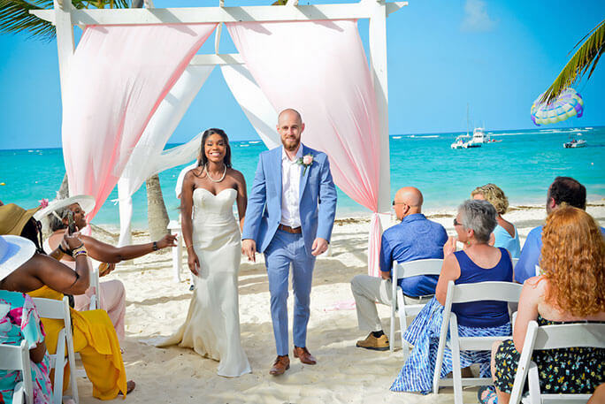 Belle Vogue Bride Morgan, getting married in Punta Cana wearing her Martina Liana wedding dress, style 647.