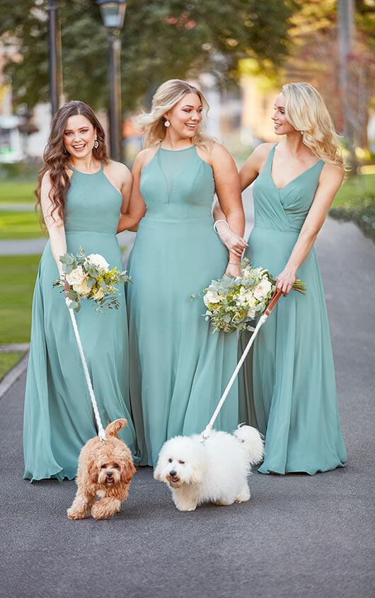 3 Bridesmaids wearing green bridesmaid dresses from designer Sorella Vita