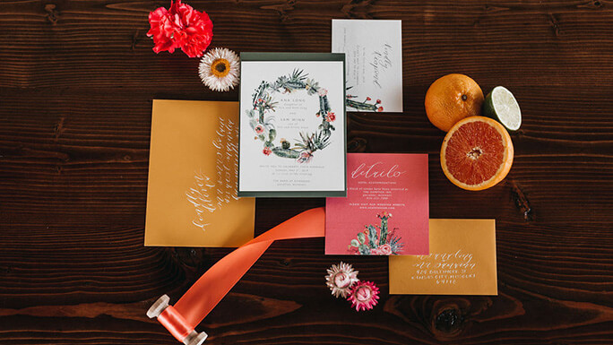 Orange and red boho invitations