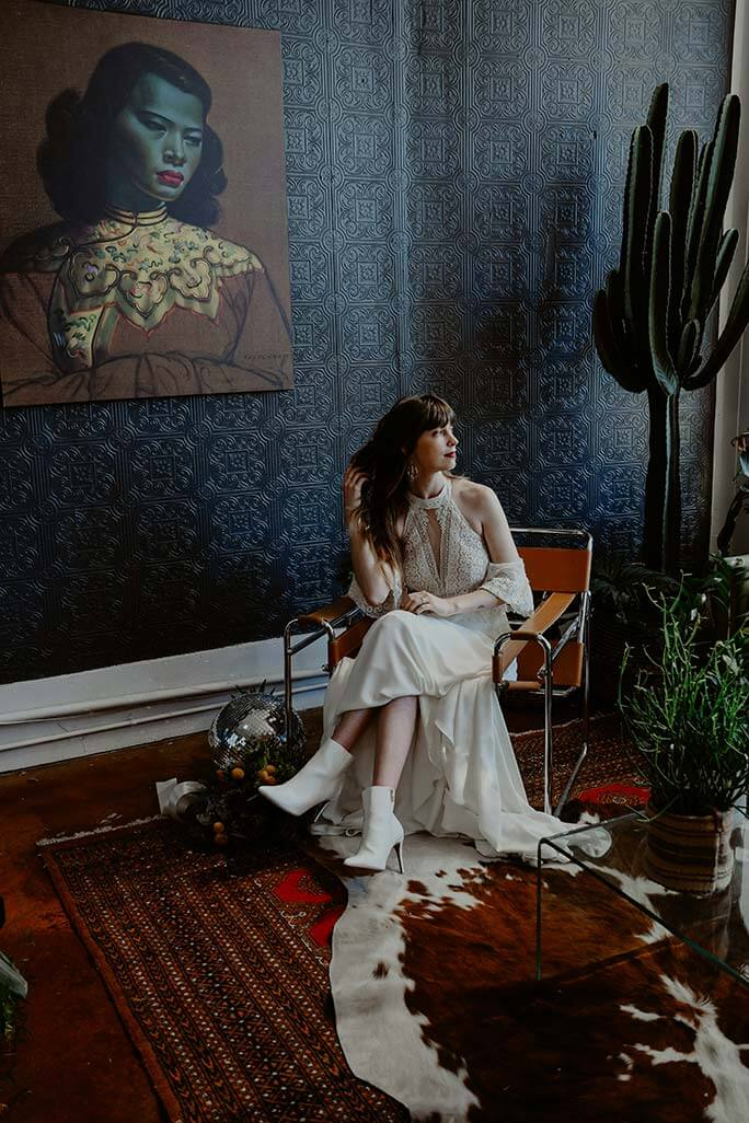 Kansas City bride wearing her June wedding dress from designer All Who Wander