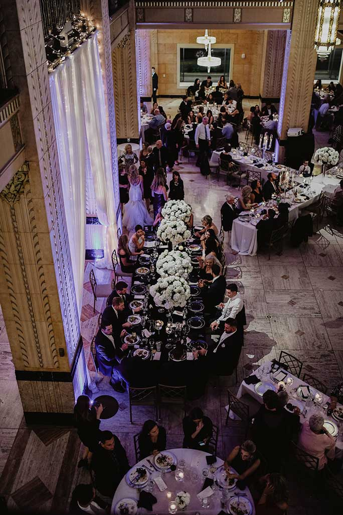 Real Belle Vogue Bride Brittany's aerial view of her wedding reception hall.