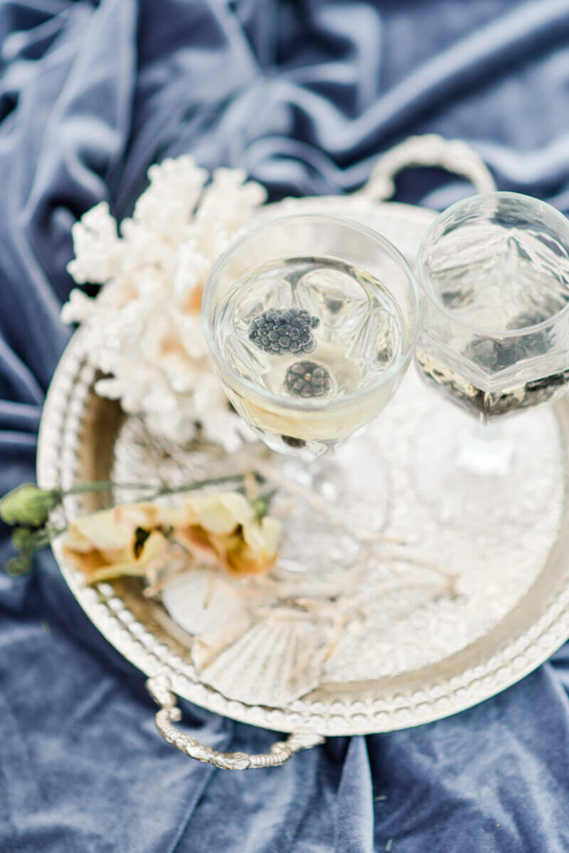 Trendy bride styled photo of wedding drinks