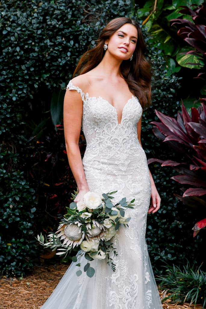 Essense of australia illusion off-the-shoulder wedding dress in style d3065