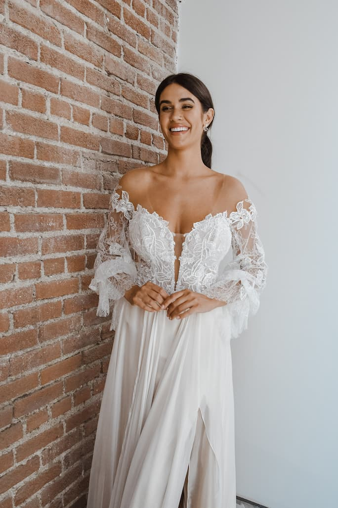 Boho off the shoulder wedding dress from all who wander in style Finn