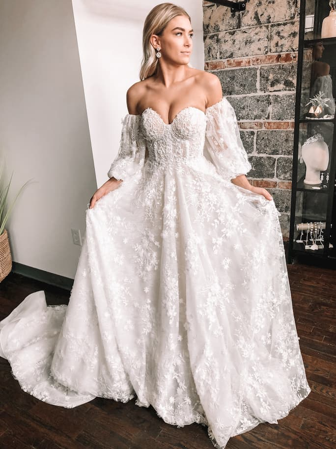 Martina Liana Luxe off the shoulder wedding dress with detachable sleeves