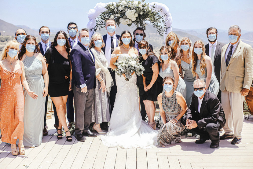 covid wedding ceremony wearing masks