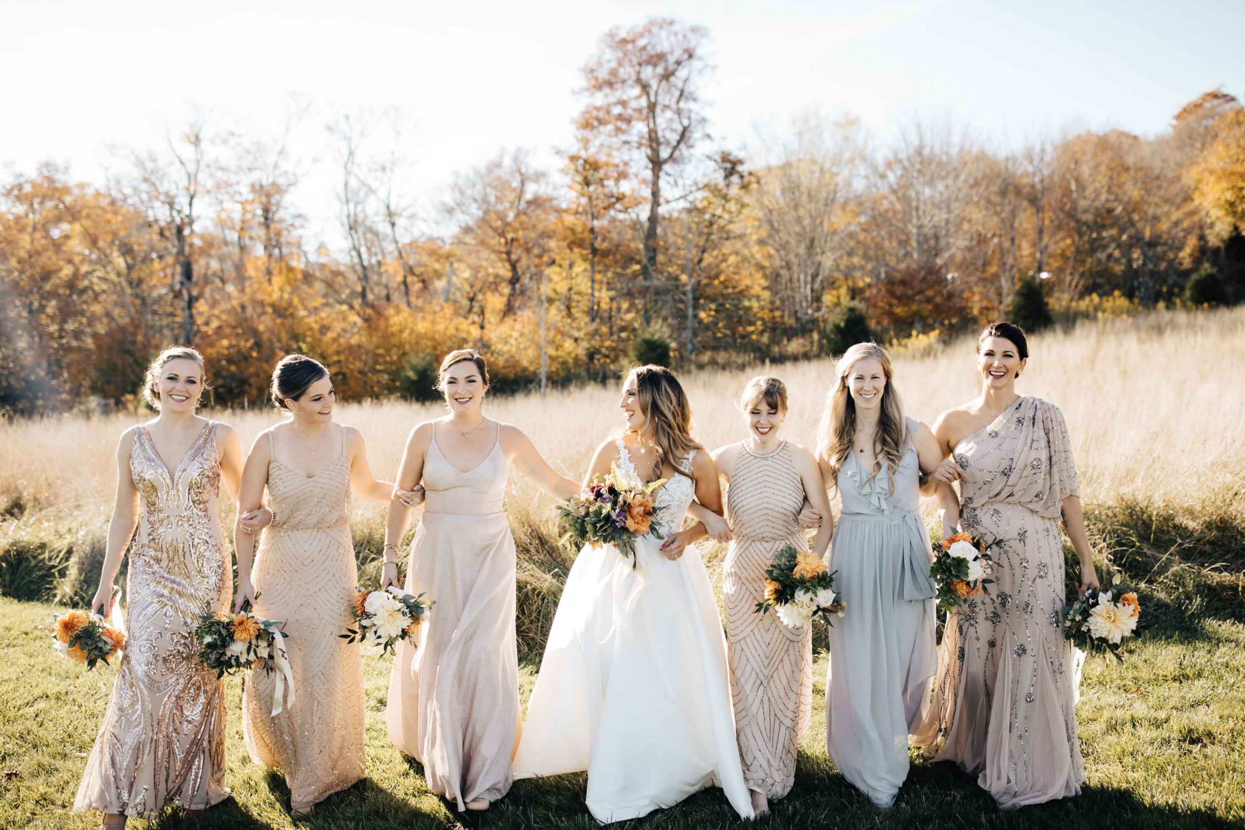 bridesmaids wearing golden colors