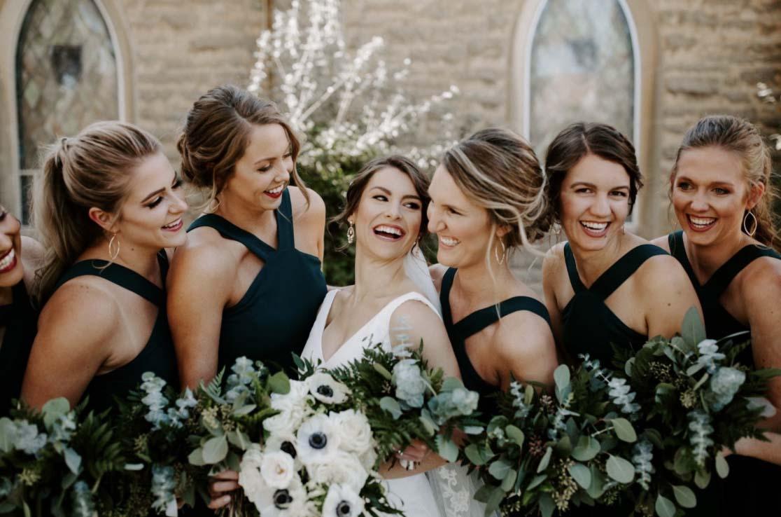 bridesmaids posing for photos