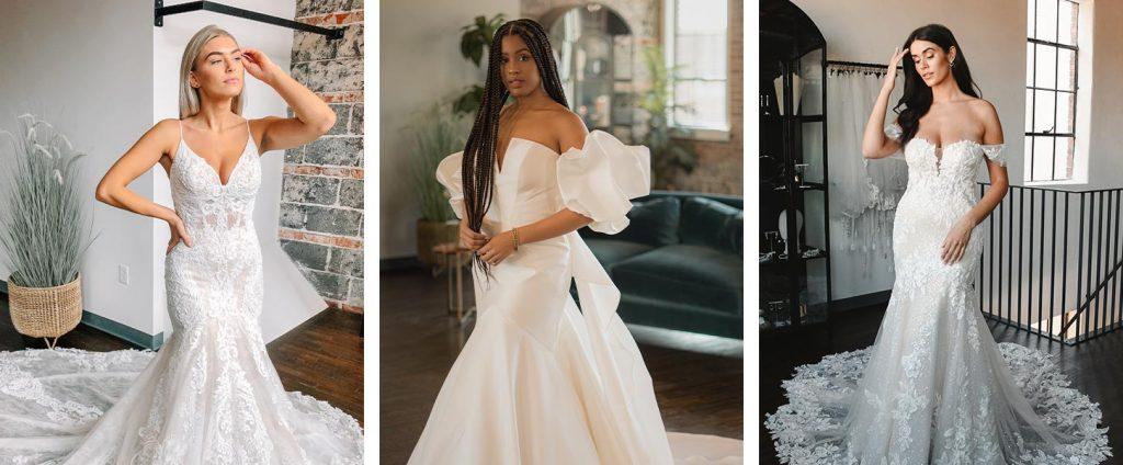 Brides trying on wedding dresses at True Society Zug