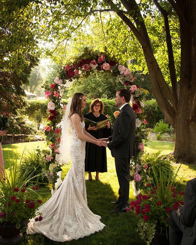 christine at wedding ceremony - style 6933 by stella york