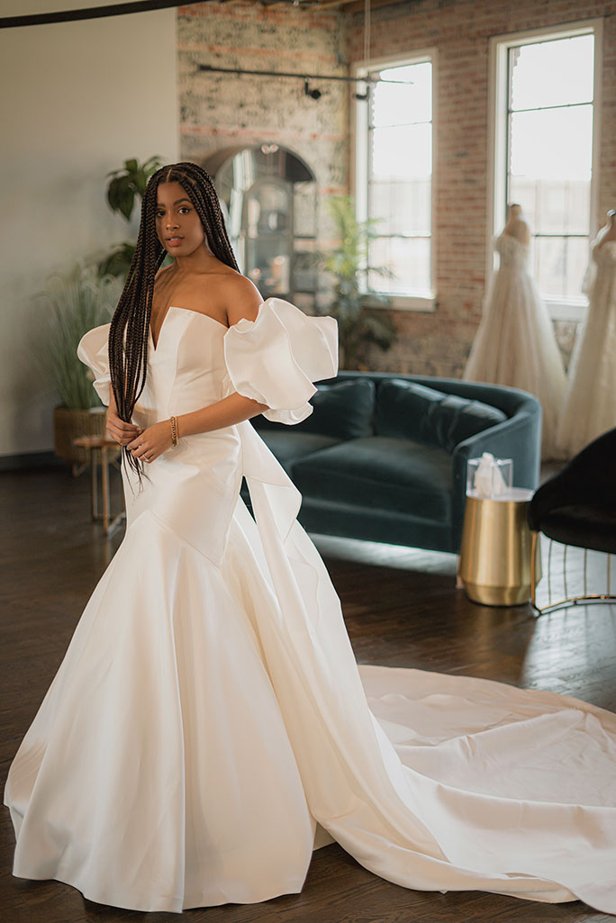modern wedding gown with puffed sleeves - style 1266 by martina liana